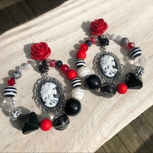 Victorian skeleton lady cameo red rose 🌹 earrings